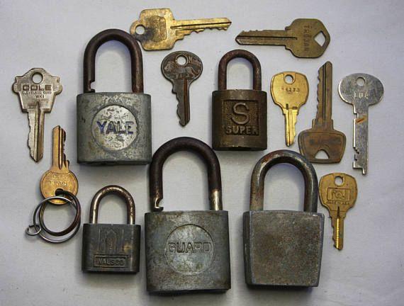 Vintage PADLOCKS with Aged Patina KEYS Yale Lock Guard Lock