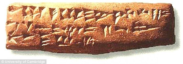 The alphabet was first used more than 3,000 years ago in the ancient city of Ugaritic, which is now modern Syria. Pictured, a clay Abecedarium showing the ancient Ugaritic cuneiform alphabet, c. 1400 BCE.