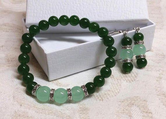 Jade jewellery set  Bracelet and earrings  Birthday gift