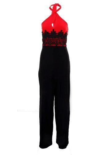 Ladies Sleeveless Halterneck Lace Contrast All In One Party Ladies Jumpsuit 8-14 [Red/Black, UK 12] Branded,http://www.amazon.co.uk/dp/B00J06XVBK/ref=cm_sw_r_pi_dp_wVyBtb1HSY0VXWZJ