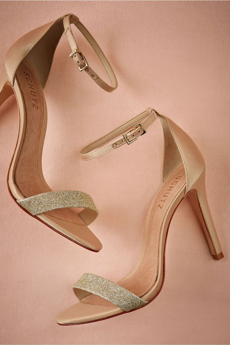 wedding shoes for the bride & bridesmaid | Dipped Gold Glitter Heels from @BHLDN