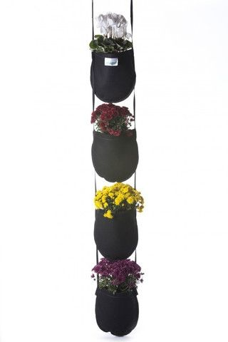 Bag Hanging Planter~Now on GardenBunch.com/Marketplace~Grow vertical with the Hanging Garden! Use GeoPot Hanging Gardens to enhance the ambiance of your garden. Great for planting herbs, ornamentals, strawberries, lettuces, grape tomatoes, peppers and more. Naturally air prunes for healthy root structure, as well as being washable and reusable. The Hanging Garden is made from a durable geotextile fabric, and is stitched using a strong bonded polyester thread that is UV protected and water…