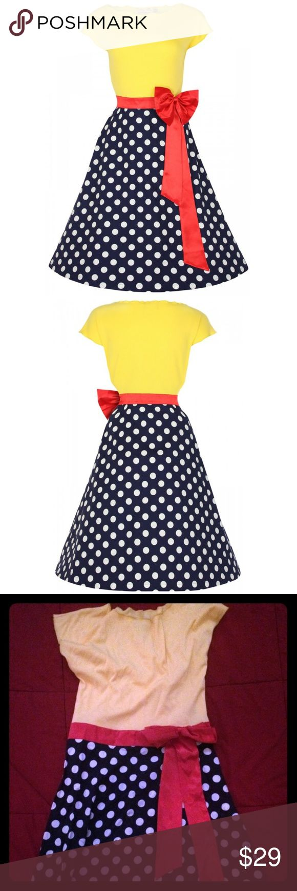 Lindy Bop dress- polka dot retro vintage 50's CUTE No need to go to Paris to get this look! Sit in cafes and sip coffee while looking like you just stepped out of a Parisian 1950 fashion magazine.This dress features a ribbed stretch jersey cotton top, with a scoop neck, and adorable red satin bow (attached/ not removable). The polka dot skirt flares to give a beautiful and flattering shape to the body.Skirt is 97% polyester 3% elastin. Entry zipper on side. No tags, worn once, excellent…