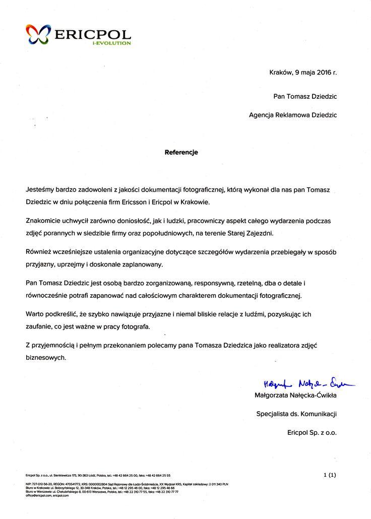 Referencje od firmy Ericsson & Ericpol. Referencje od firmy Ericpol&Ericsson. Fotografia eventowa Kraków