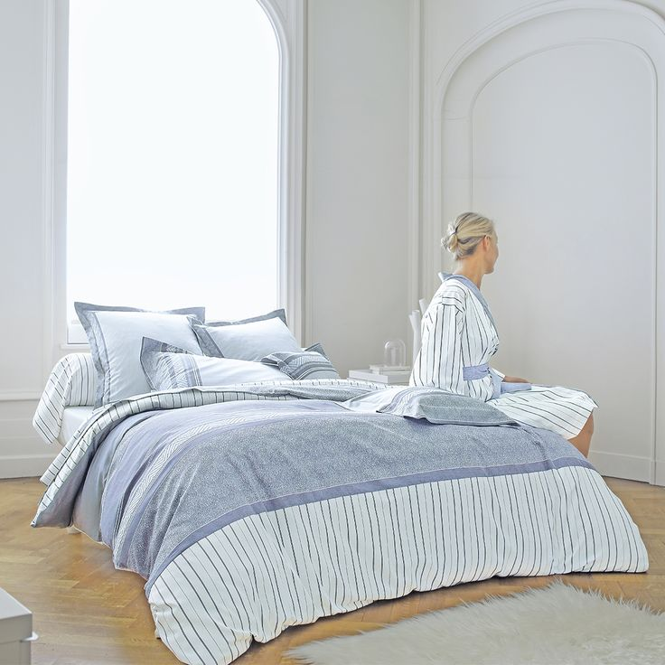 linge de lit blanc des vosges chausey navy housse de couette drap plat drap housse taie d. Black Bedroom Furniture Sets. Home Design Ideas