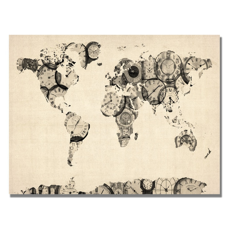 Michael Tompsett 'Old Clocks World Map' Canvas Art | Overstock.com