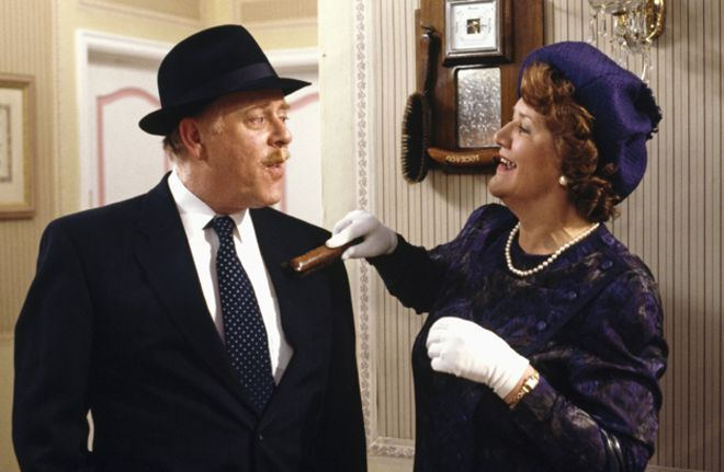 Actors Clive Swift and Patricia Routledge in sitcom Keeping Up Appearances