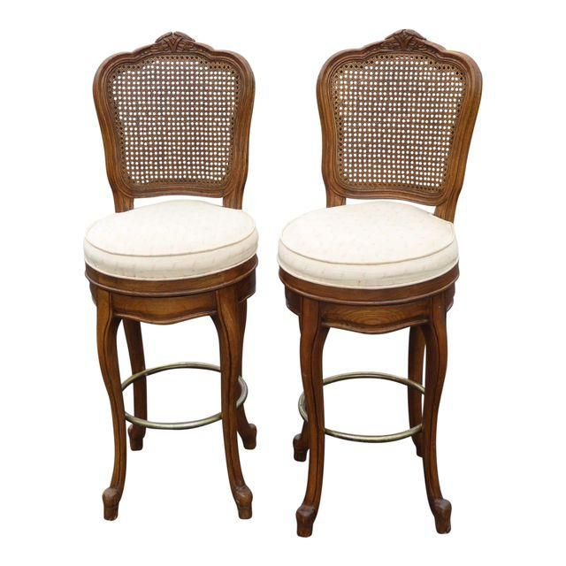 Image of French Country Carved Wood Cane Back Bar Stools - A Pair