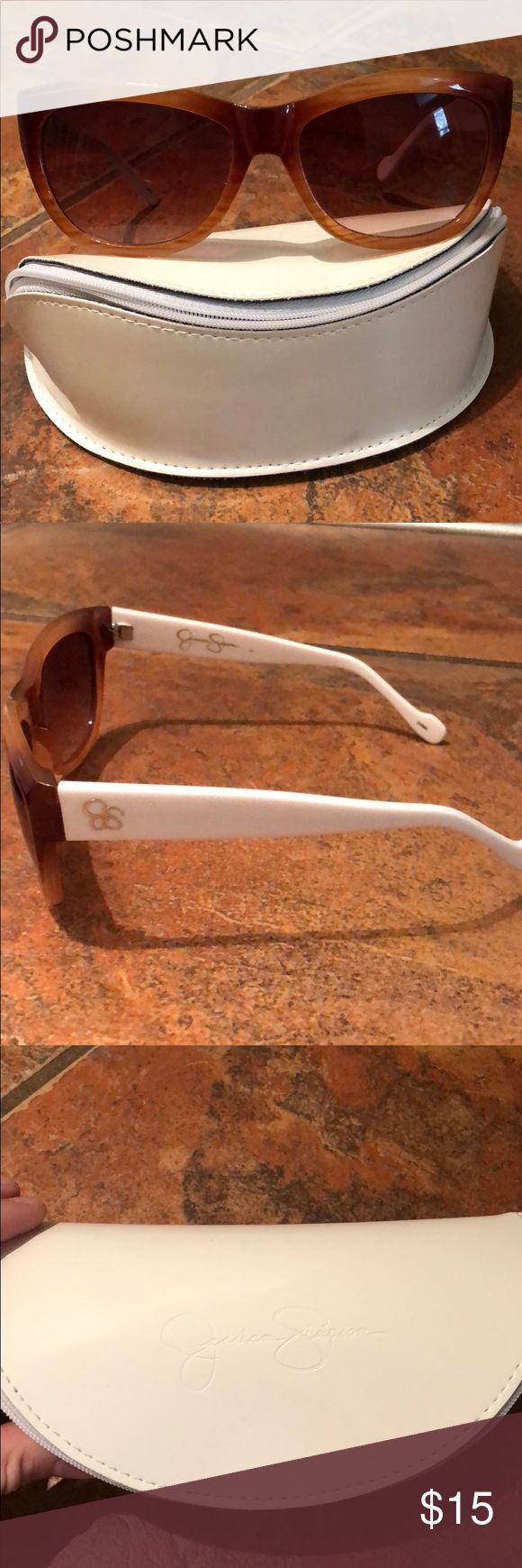 Jessica Simpson Sunglasses with case NWOT two tone sunglasses White and brown with brown tinted lenses Jessica Simpson Accessories Sunglasses