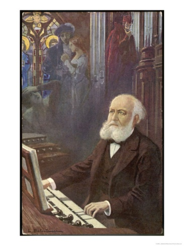 "Charles Gounod, French musician and composer, depicted here composing his brilliant opera, ""Faust."""