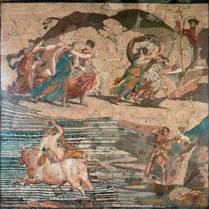 "EUROPA ON THE BULL / ROM. MOSAIC / C1 AD. Mythology / Europa. Roman, 1st half of 1st century AD. Mosaic after a painting by Antiphilos (?) – ""Europa on the Bull"".  (Zeus in the form of a bull abducts Europa, her father Agenor above). Opus vermiculatum, 85 × 84.5cm. Found: Praeneste."