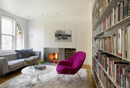 These shelves stand out from the previous examples in the extremely thin edge profile and apparent lack of supports.: Interior, Living Rooms, Idea, Chairs, Livingroom, Womb Chair, Fireplace, Design
