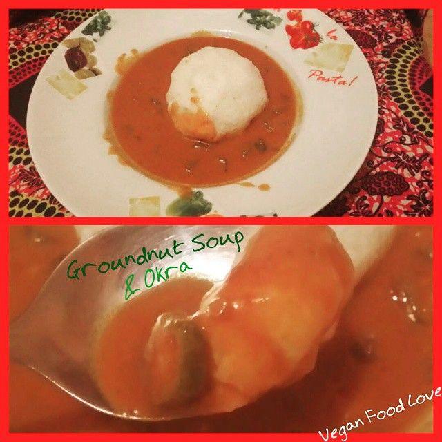Groundnut Soup with Okras and rice balls  ofcours Vegan #veganlove #vegan #veganfoodlove #africafood #africanfoods #veganafricanfood #africaveganfood #africavegan #ghana #ghanafood #nigeriarecipe #nigeriafood #nigeria
