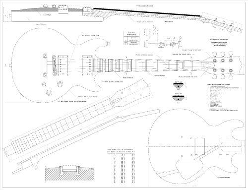 Full Scale Plans for the Gibson Les Paul Double Cutaway Electric Guitar  Technical Design