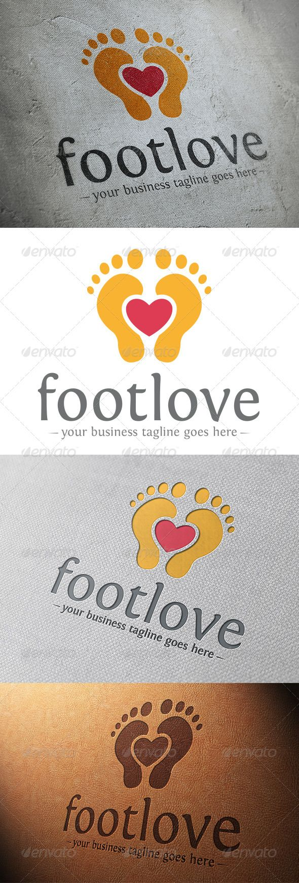 Foot Love Logo Template  #GraphicRiver         - Three color version: color, greyscale and single color.   - The logo is 100% resizable.   - You can change text and colors very easy using the named and organized layers that includes the file.   - The typography used is Fontin you can download here:  .fontsquirrel /fonts/Fontin         Created: 15October13 GraphicsFilesIncluded: VectorEPS #AIIllustrator Layered: Yes MinimumAdobeCSVersion: CS Resolution: