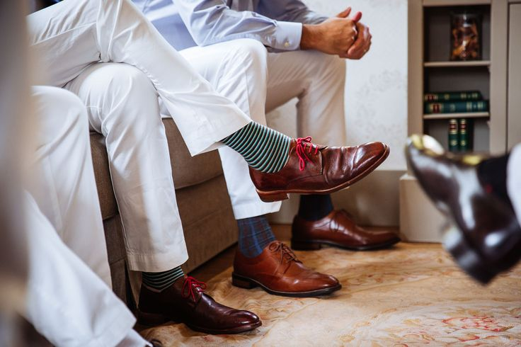 A detail of the socks of the groomsmen