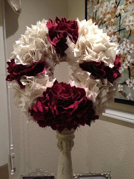 Wine with White Linen 12 Christmas wreath by PurrtyNeatStuff, $59.95