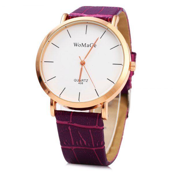 Gold Plated Stylish Business Watch - PURPLE
