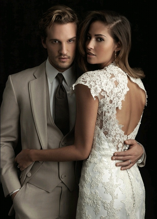 Tan Tuxedo Three Piece and Open Back Lace Wedding Gown.  Make this tux grey, and it + the dress are perfect.