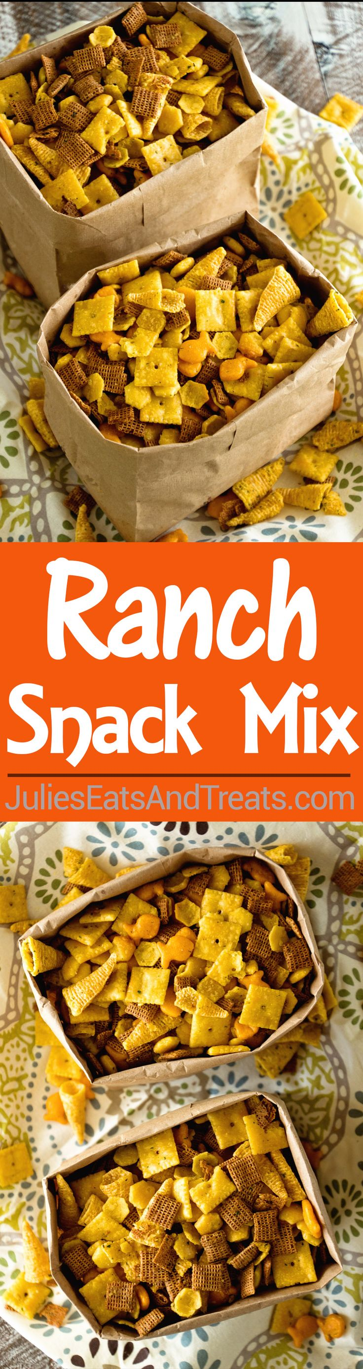Ranch Snack Mix Recipe ~ Delicious, Easy, Homemade Snack Mix Loaded with Chex, Bugles, Goldfish and Oyster Crackers then Seasoned with Ranch Dressing Mix!