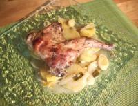 lapin au four, pommes de terre et poireaux