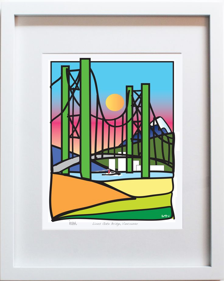 Lions Gate Bridge in Vancouver, BC with blue and pink Background. Also available in a smaller 8x10in white frame and with an orange background on our website.