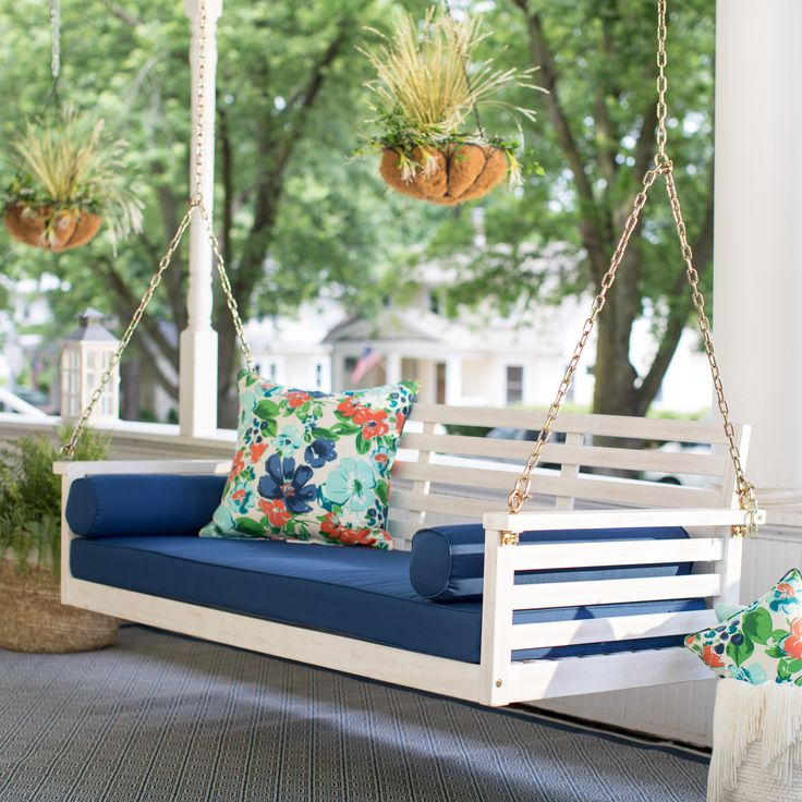 Belham Living Brighton Beach Deep Seating Porch Swing Bed with Cushion | from hayneedle.com