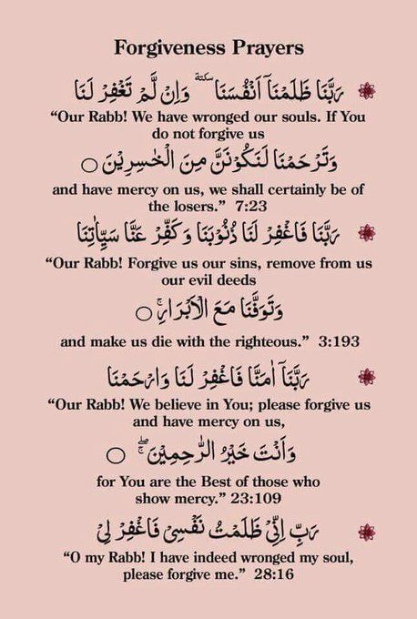 Duas of forgiveness taught by Allah Himself in the Quran !!