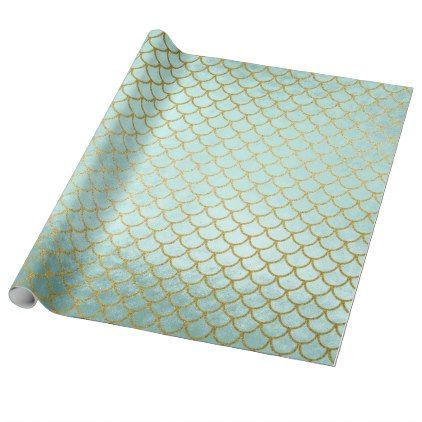 trendy mint gold glitter mermaid scales wrapping paper foil leaf