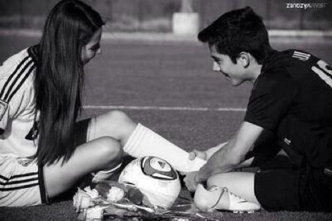 Cute soccer couple aww