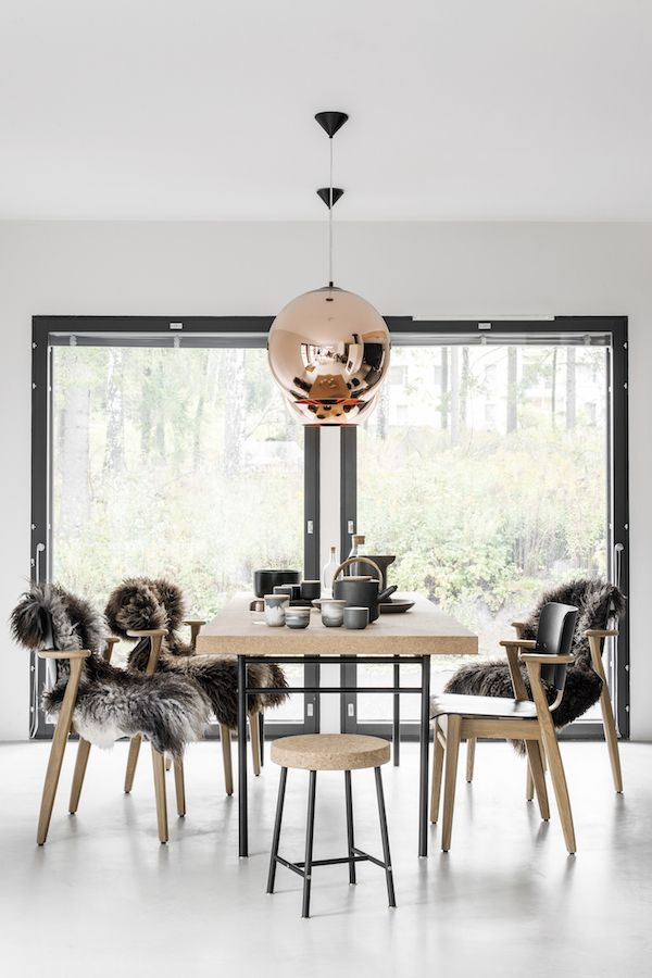 A Beautiful All Black Kitchen And And Dining Room With Lots Of Cork  (Vosgesparis)