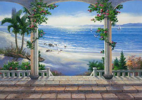 BEACH MURAL IDEAS TO PAINT ON DIVIDER WALL | Tropical Wall Mural for Living Room Decor Fresh Look Beach Wall Mural