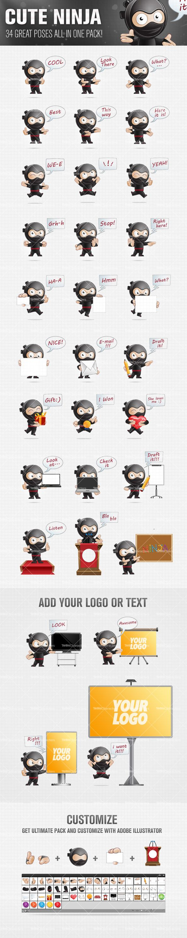 Cute Ninja Cartoon Character Set Preview Big