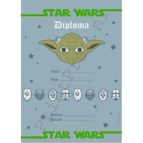 Star Wars diploma; onderdeel van het zelf te printen Star Wars feestpakket van www.Printpret.nl