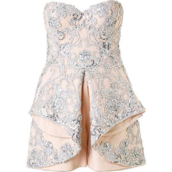 Mikael D. - strapless embellished playsuit - women - Silk/Polyamide -... ($7,425) ❤ liked on Polyvore featuring jumpsuits, rompers, dresses, strapless romper, white romper, white jumpsuit, strapless rompers and playsuit jumpsuit