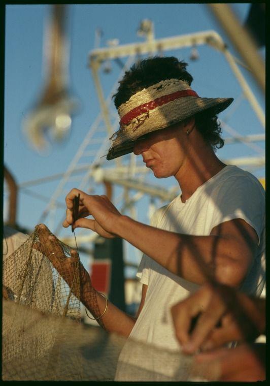 147174PD: Mending fishing nets, Fremantle, ca.1985.  http://encore.slwa.wa.gov.au/iii/encore/record/C__Rb4806252__Smending%20fishing__Orightresult__U__X6?lang=eng&suite=def