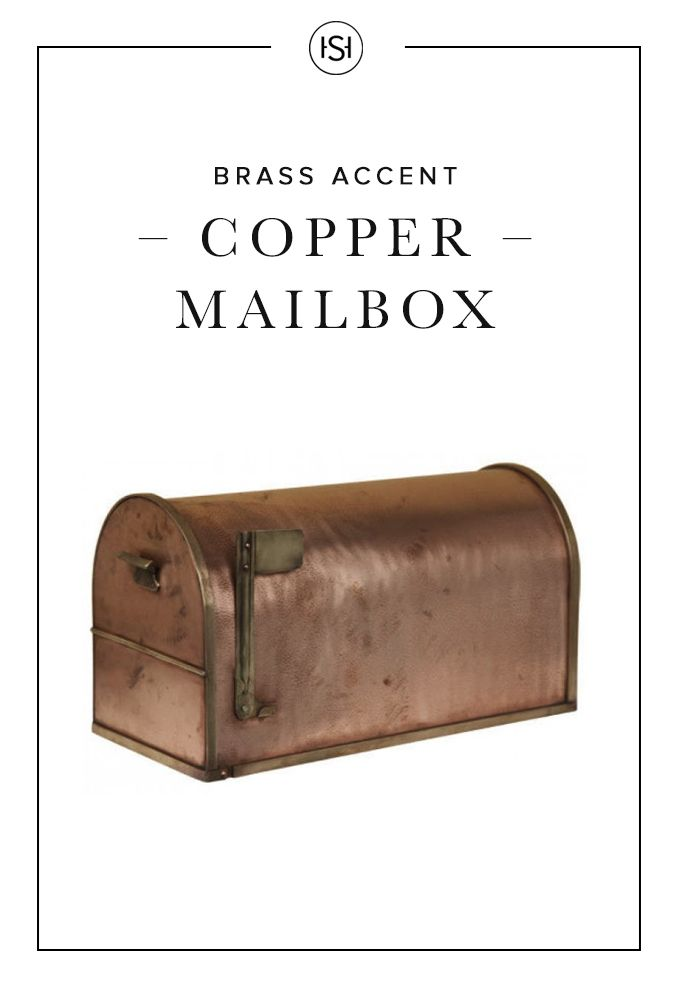 Feel like a trendsetter as you retrieve your mail form this Classic Post Mount Copper Mailbox from Signature Hardware. Featuring brass-accented edges and door, this mailbox will add a rustic touch to your home's exterior.