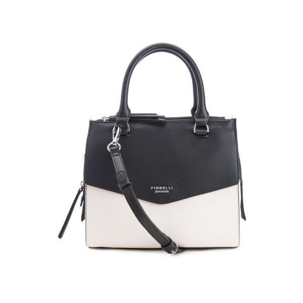 Fiorelli Women's Mia Grab Bag - Mono (3,720 DOP) ❤ liked on Polyvore featuring bags, handbags, shoulder bags, zip shoulder bag, black white handbag, white and black purse, flap handbags and structured handbags