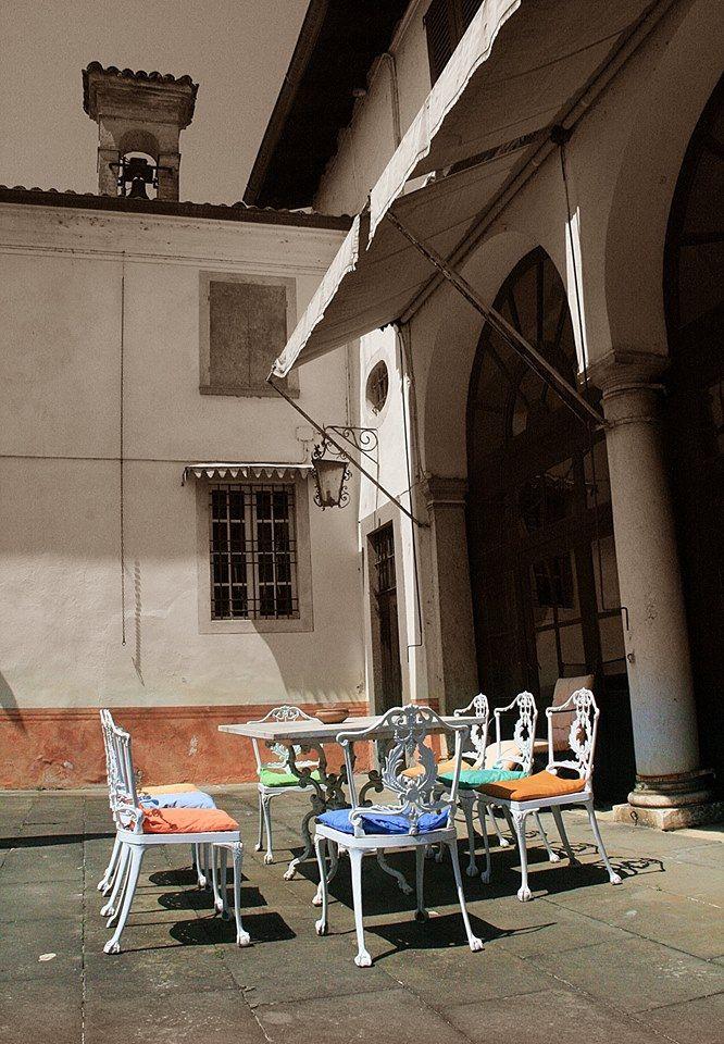 The patio of Palazzo Lana, Berlucchi winery in Franciacorta, Italy