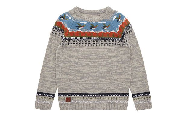 "Retro Knitted Jumper. ""He'' be all set for the colder weather in this retro-inspired fairisle knitted jumper."""