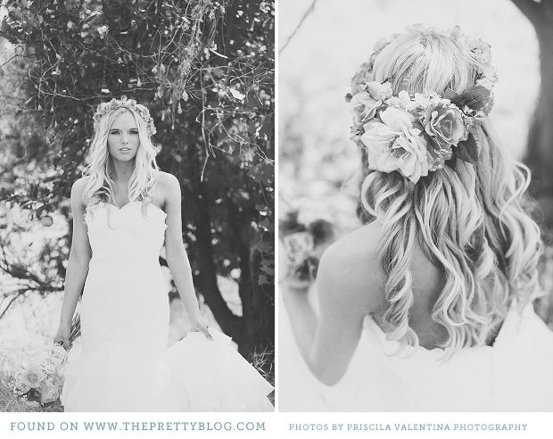 love the hair...definitely opting for a crown of flowers instead of a veil