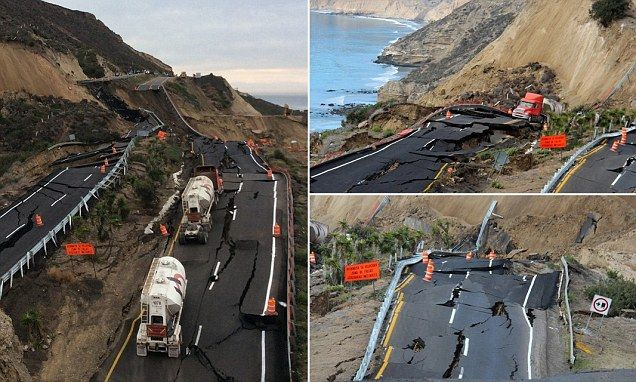 Mexican coastal highway cracks up and slides 300ft down mountainside into sea after earthquake near U.S. border ------------------------------------------------ Several small earthquakes shook the area on December 19 and cracks were seen in the lead up to the collapse Road might be closed for up to year according to some media reports.
