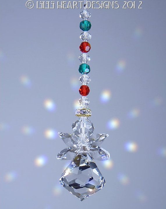Suncatcher M/w Swarovski Crystal Christmas Holiday Bell Curvy Angel Ornament  Lilli Heart Designs