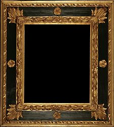 Baroque antique picture frame carved, black painted and gilded - 17th century