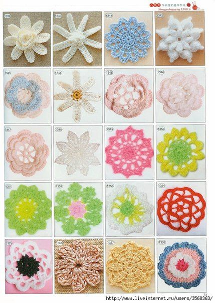 Amazing Collection of Crochet Flowers. More Patterns Like This!