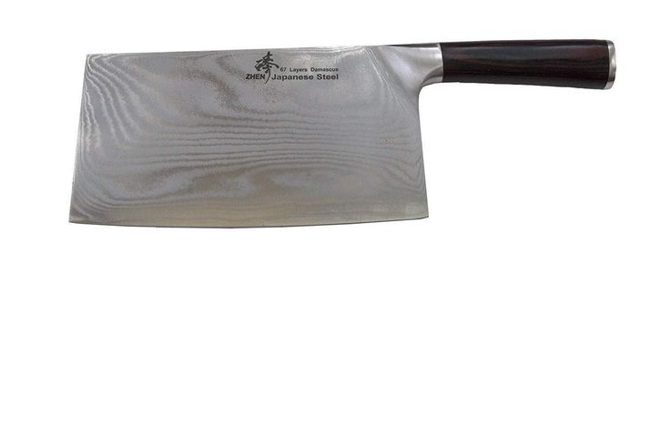 ZHEN Japanese VG-10 67-Layer Damascus Steel 8-Inch Slicer Chopping Chef Butcher Knife/Cleaver, Large-A8P