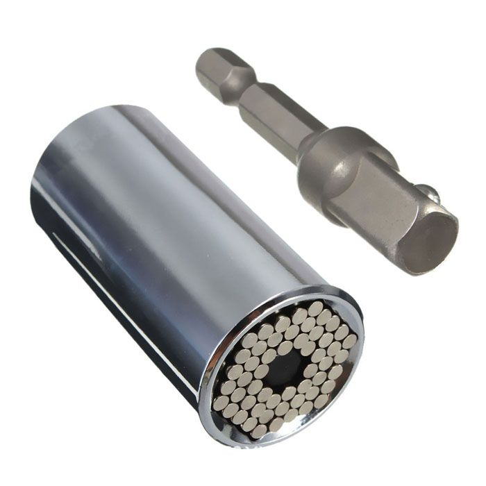 2 PCS Hand Tools 7-19mm Universal Socket Wrench Head Socket Multifunctional Torque Sleeve with Drill Adapter for Repair Tools //Price: $9.95      #shopping