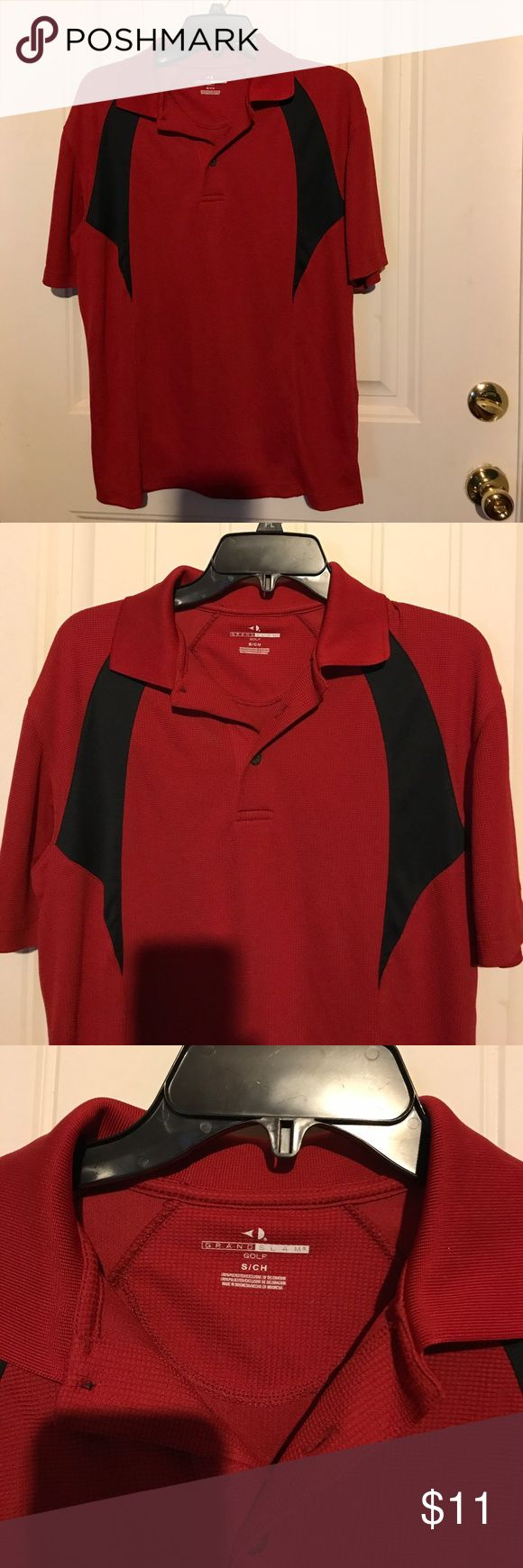 Grand Slam Men's Red & Black Golf Polo Shirt Small Grand Slam Golf Polo Shirt is size small. Men's shirt is a deep red with black detail. Shirt has short sleeves, collar, slits on each side and closes with 2 buttons. Made in Indonesia of 100% polyester. Grand Slam Shirts Polos