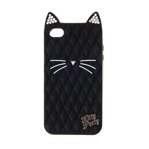 Coque pour téléphone chat noir Katy Perry compatible iPhone 4 et 4S