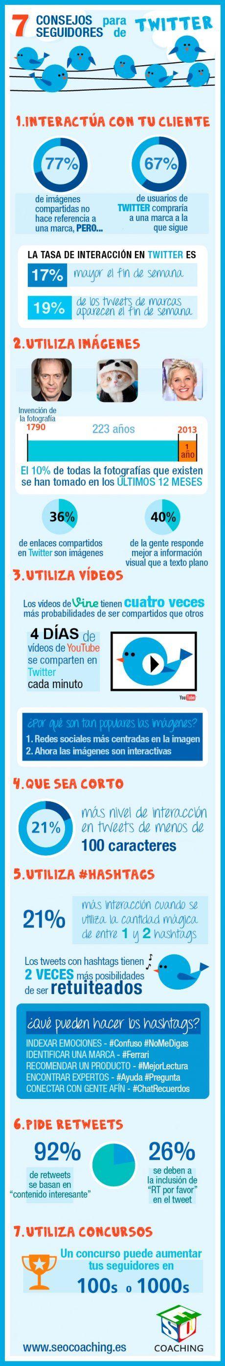 7 consejos para tuiteros. Infografía en español. #CommunityManager